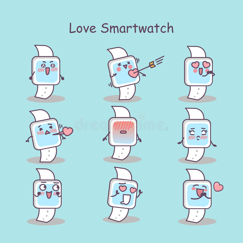 Smart klocka för förälskelsetecknad film stock illustrationer