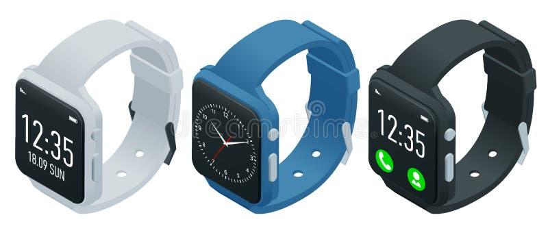 Smart klocka för idrottsman nen eller konditionarmband Isometrisk smart klocka som isoleras på vit Smartwatch reflekterade på vit stock illustrationer