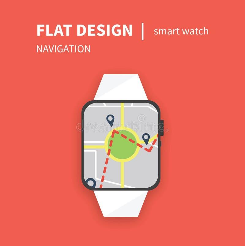 Smart klocka i plan navigering för designuivektor royaltyfri illustrationer