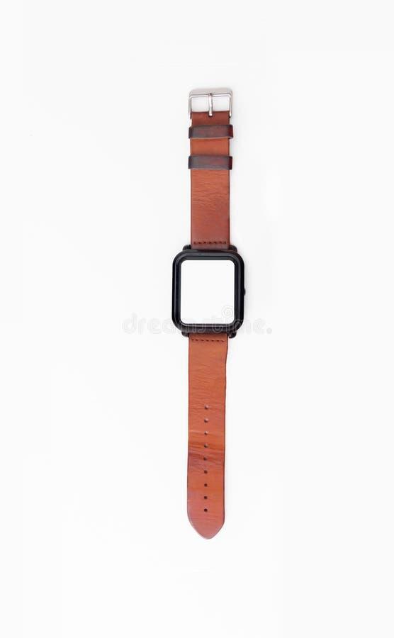 Smart klocka med bruna remmar för äktt läder arkivfoton