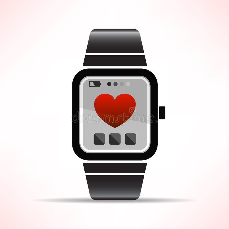 Smart klocka med förälskelsehjärta för illustrati för valentindagvektor stock illustrationer