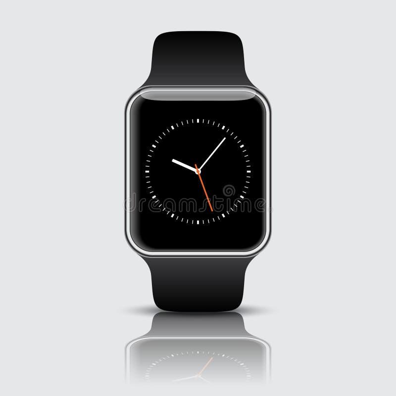 Smart klocka med symboler på vit bakgrund också vektor för coreldrawillustration vektor illustrationer