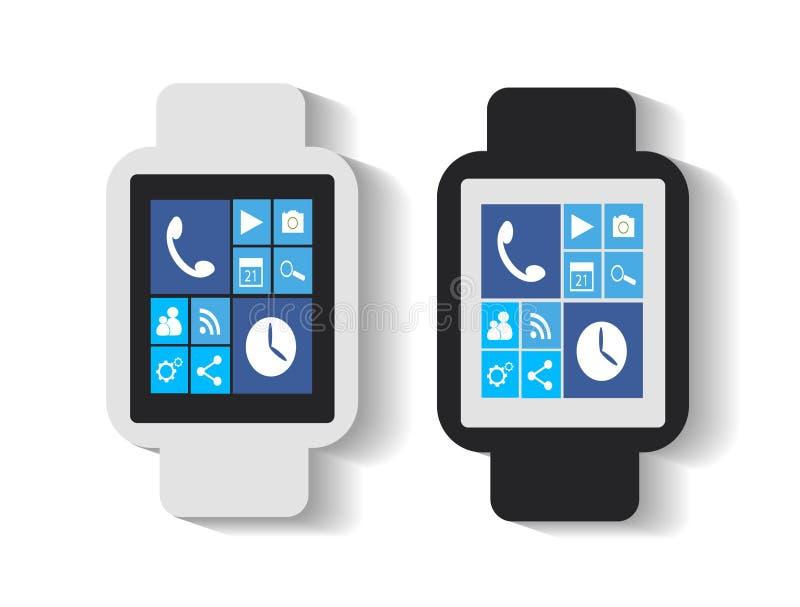 Smart klocka med vita appssymboler royaltyfri illustrationer