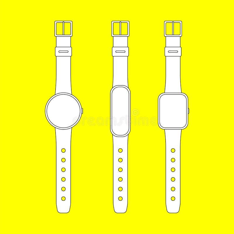 Smart klocka- och konditionbogserareuppsättning ?versiktsvektor stock illustrationer