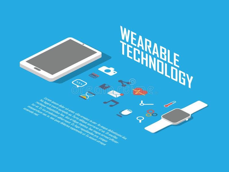 Smart klockabegreppsillustration Smartwatch och smartphonen som wearable teknologi med symboler för apps har kontakt vektor illustrationer