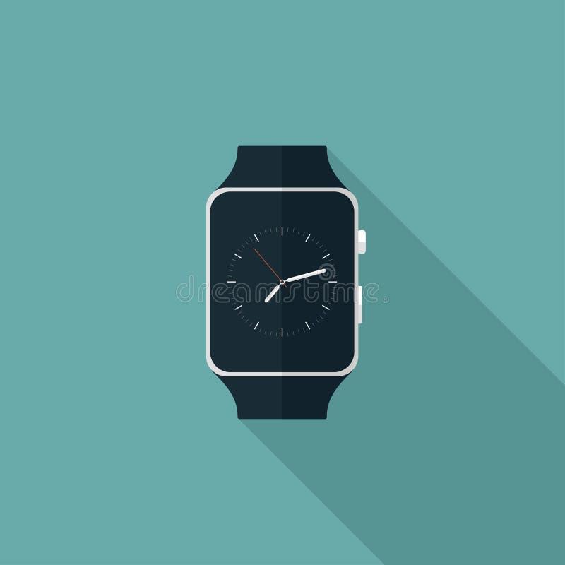 Smart klockalägenhetsymbol stock illustrationer