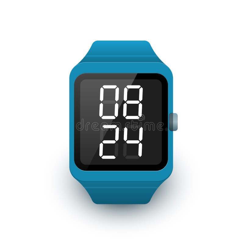 Smart klockasymbol med appen för digital klocka på skärmen Vektorillustration av smartwatch stock illustrationer