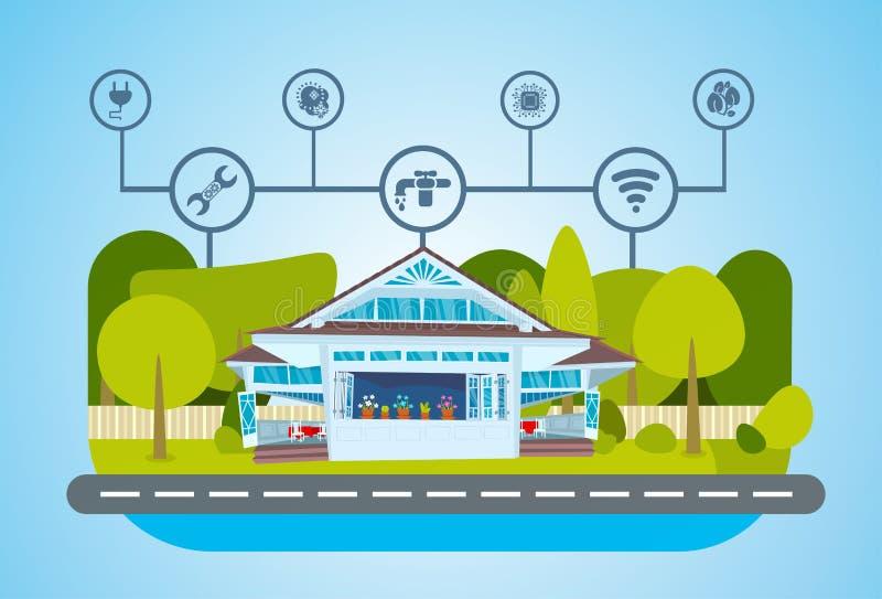 Smart kontroll för teknologi för husgräsplanenergi centraliserad system av belysning, uppvärmning, ventilation och att betinga fö royaltyfri illustrationer