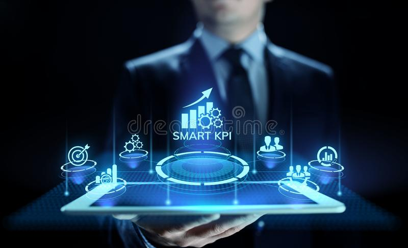 Smart KPI Performance analysis improvement business industrial technology concept. stock photography