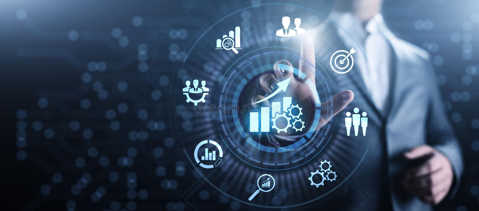 Smart KPI Performance analysis improvement business industrial technology concept. stock photos