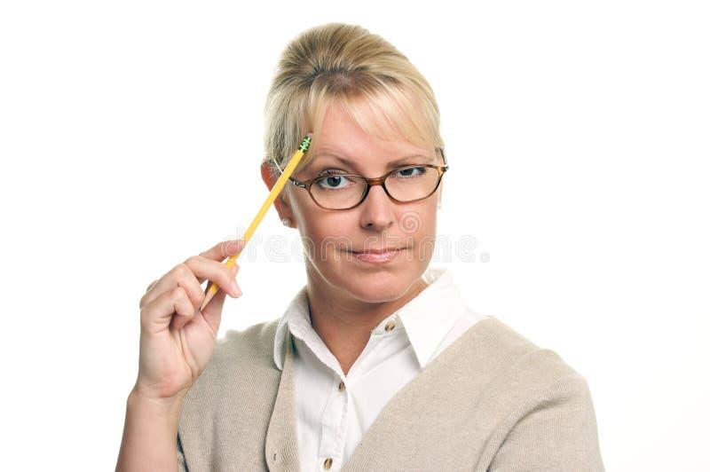 smart kvinna för härlig blyertspenna royaltyfri bild