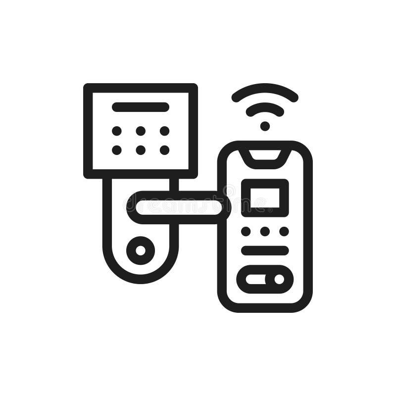Smart låser dörrfärglinjen symbol Begrepp för hem- automation stock illustrationer