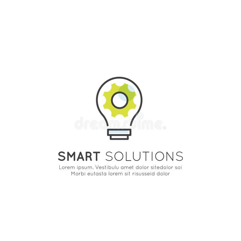 Smart lösning som tänker utanför asken, ljust idébegrepp royaltyfri illustrationer