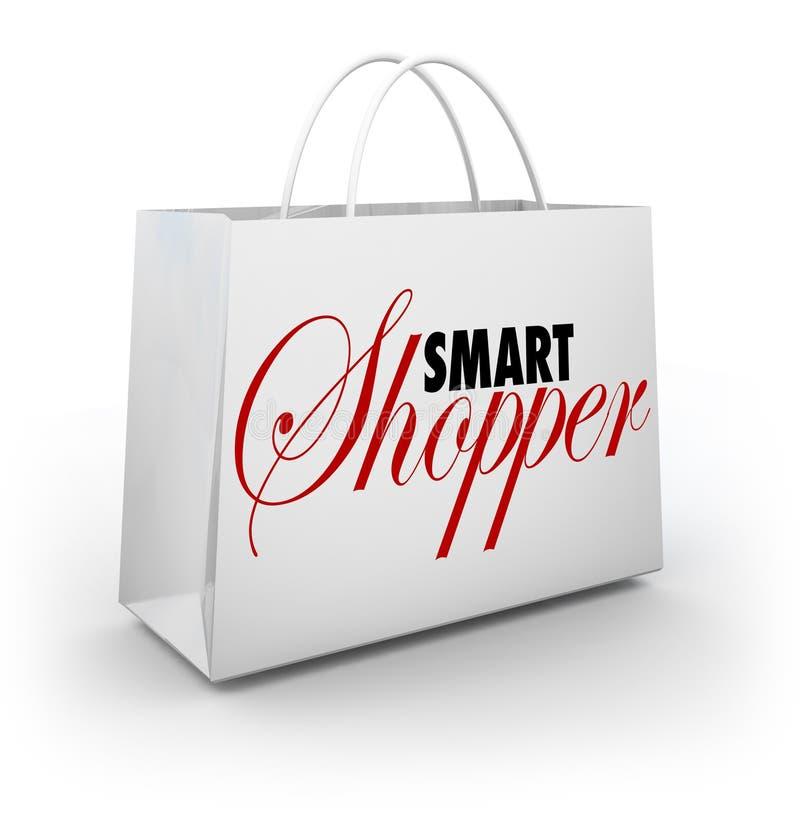 Smart lager Sale för varor för köpande för shoppareshoppingpåse royaltyfri illustrationer