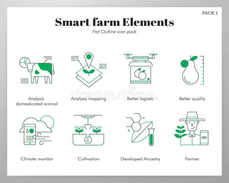 Smart lantgårdbeståndsdelFlatOutline packe royaltyfri illustrationer