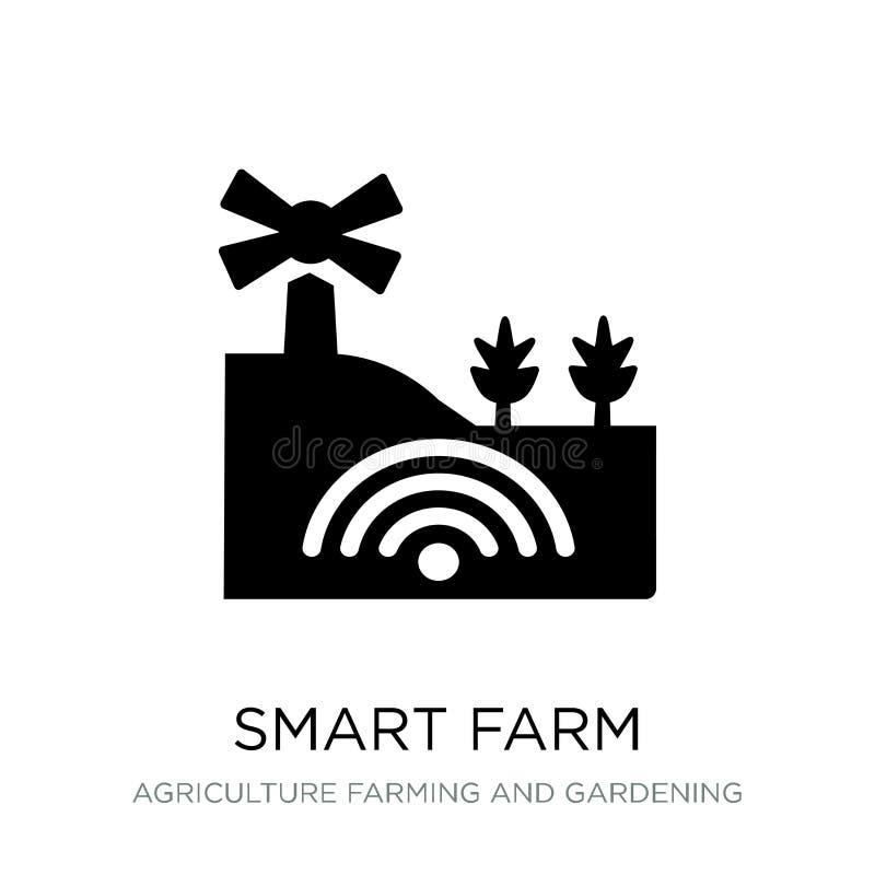 smart lantgårdsymbol i moderiktig designstil smart lantgårdsymbol som isoleras på vit bakgrund smart modern lantgårdvektorsymbol  royaltyfri illustrationer