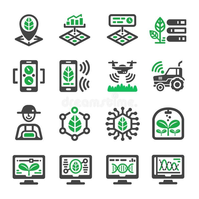 Smart lantgårdsymbolsuppsättning stock illustrationer