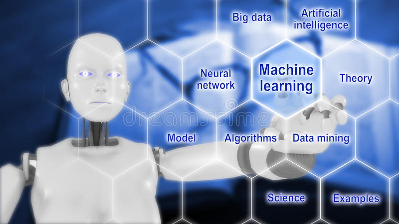 Smart lavora il concetto a macchina di intelligenza artificiale royalty illustrazione gratis