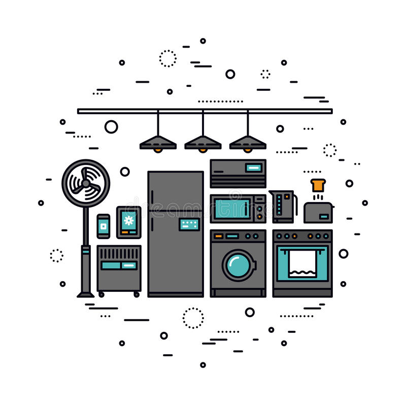 Smart linje stilillustration för hem- anordningar royaltyfri illustrationer