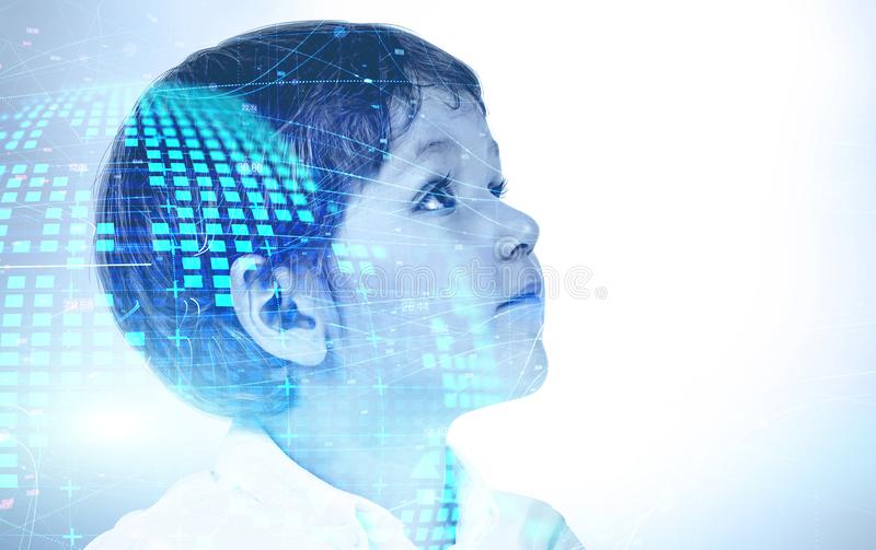 Smart little boy, planet hologram stock photo