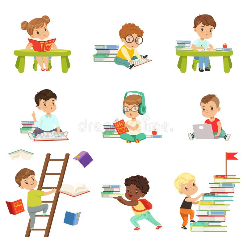 Smart little kids reading books set, cute preschool children learning and studying vector Illustrations on a white stock illustration