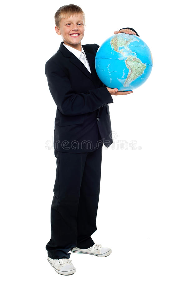 Smart Looking Young Kid Holding Globe Royalty Free Stock Photo