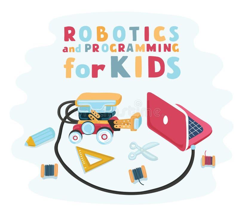 Smart lurar planlagd robotteknik för barn, robotformgivare med ett drev planlägga för elektronikdesigntankeskapelse Montera robot royaltyfri illustrationer