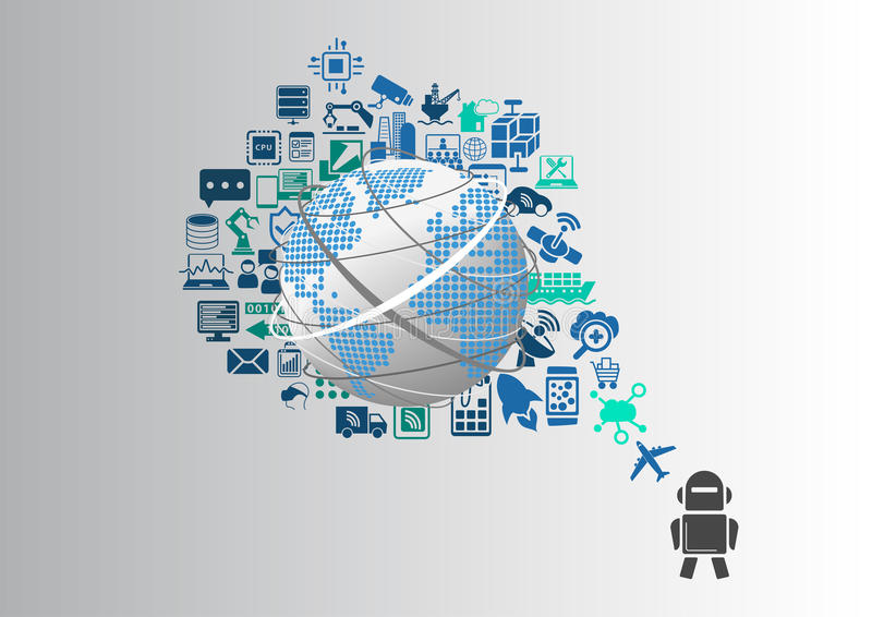 Smart machines and industrial internet of things (IOT) infographic.  vector illustration