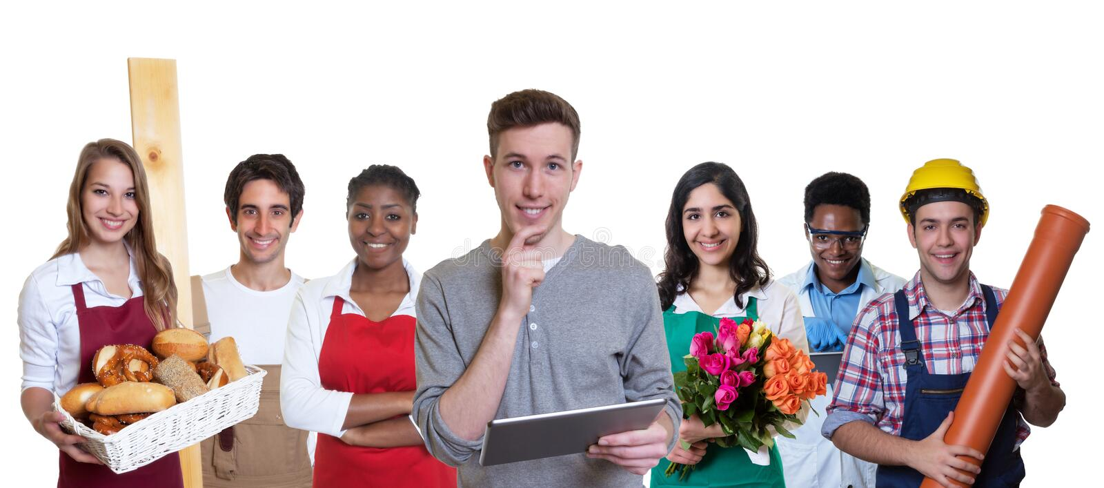 Smart male business trainee with group of apprentices stock photos