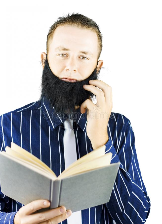 Smart Man Reading Book Of Knowledge Stock Photo