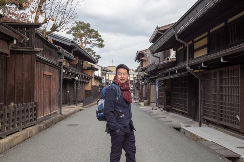 Smart man in Takayama old town in Japan royalty free stock photography