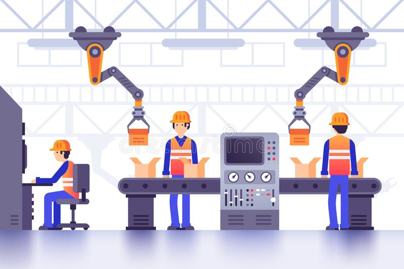 Smart manufacture factory conveyor. Modern industrial manufacturing, computer controlled factory machines line vector. Smart manufacture factory conveyor. Modern royalty free illustration