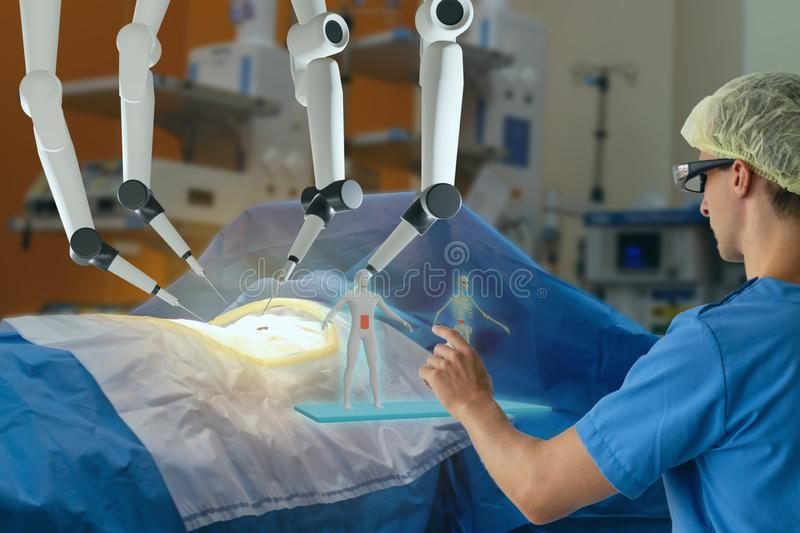 Smart medical health care concept with ar vr, surgery robotic machine use allows doctors to perform many types of complex procedur stock photo