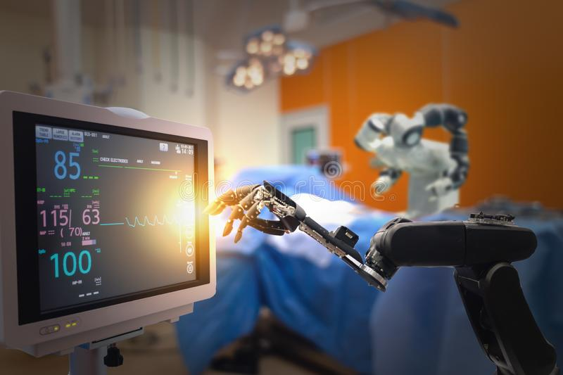 Smart medical technology concept,advanced robotic surgery machine at Hospital, robotic surgery are precision, miniaturisation, sma. Ller incisions, decreased stock photo