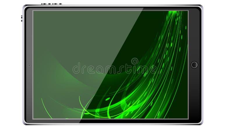 Smart minnestavlasmartphone för svart med pekskärmen, modern realistisk mobil enhet med abstrakt magisk energifärgstänk, tapet stock illustrationer