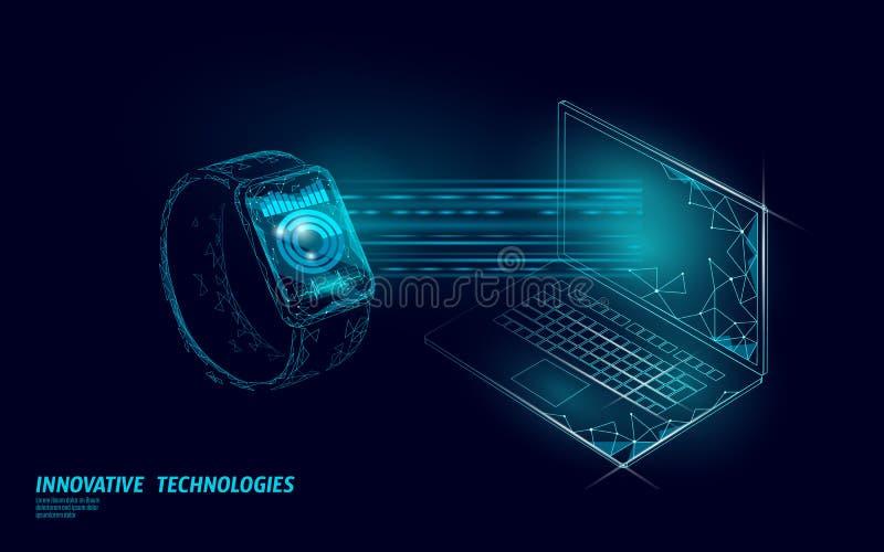 Smart mira concepto de la tecnología del ordenador portátil de la conexión App de seguimiento poligonal polivinílico bajo Red del stock de ilustración