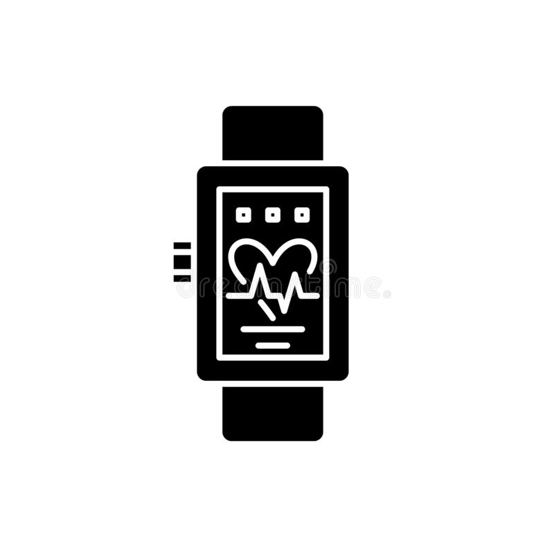 Smart mira el icono negro, muestra del vector en fondo aislado Smart mira el símbolo del concepto, ejemplo ilustración del vector