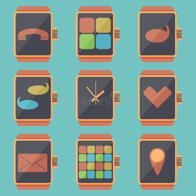 Smart mira el sistema del icono stock de ilustración