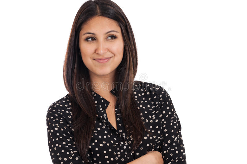 Smart mixed race business woman looking away isolated on white. Portrait of a smart beautiful mixed race Japanese Mexican woman smirking isolated on a white royalty free stock photo
