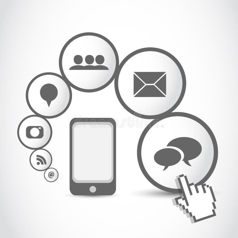 Smart mobil phone application cloud royalty free illustration