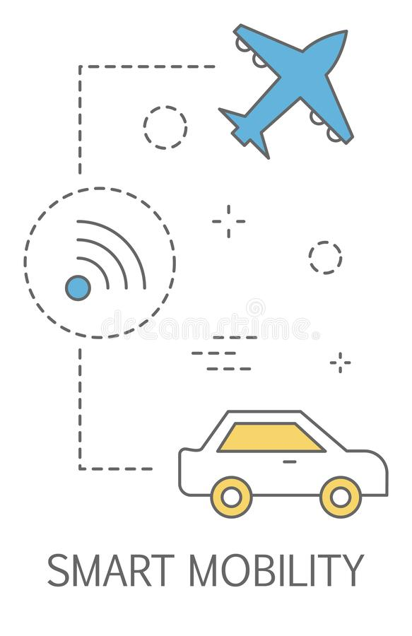 Smart mobility as a part of city of future concept. Idea of making comfortable transportation and road communication using internet of things. Isolated flat royalty free illustration