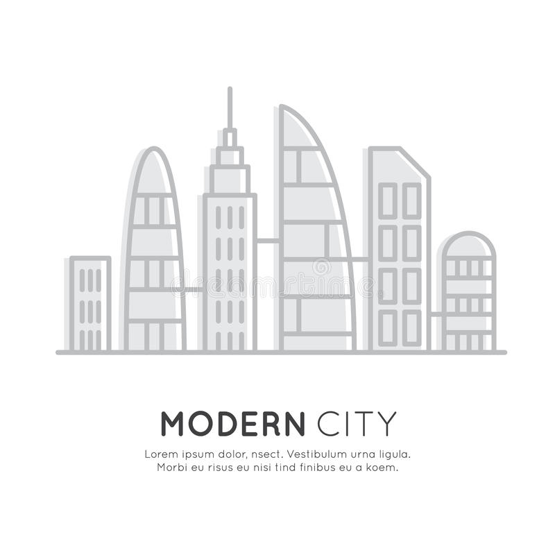 Smart Modern City, New Eco District, Skyscraper Town Concept, One page web site background royalty free illustration