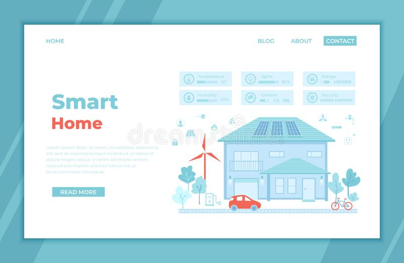 Smart Modern Eco Home with central  technology system control. Infographic automation concept. Security, thermostat, lighting stock illustration