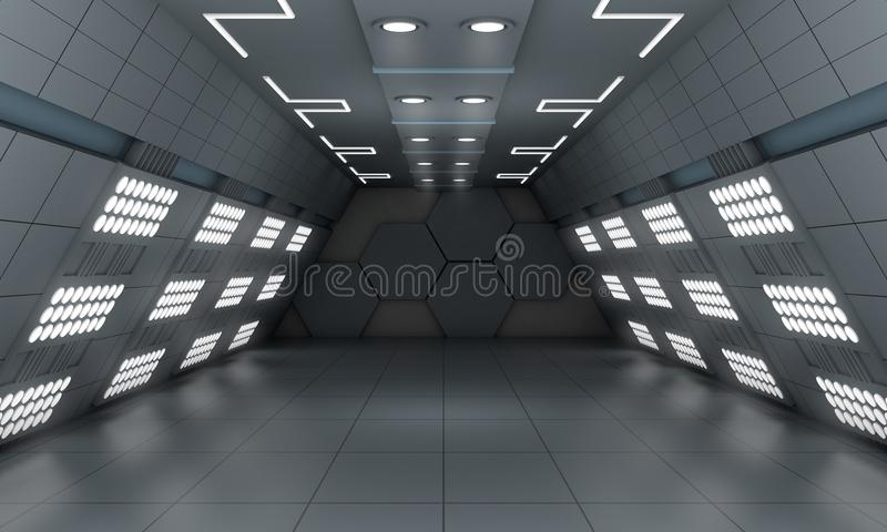 Smart modern future background sci-fi led light room, dark gray stock illustration