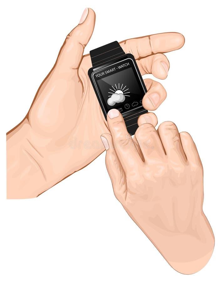 Smart-montre de prise de main. Robinet de geste. illustration stock