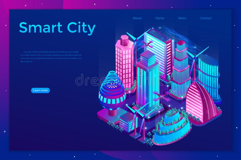 Smart night city is illuminated by neon lights in isometric style. Landing page template. Vector illustration stock illustration