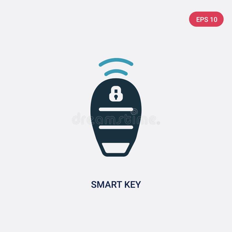 Smart nyckel- vektorsymbol för två färg från smart husbegrepp det isolerade blåa smarta nyckel- vektorteckensymbolet kan vara bru stock illustrationer