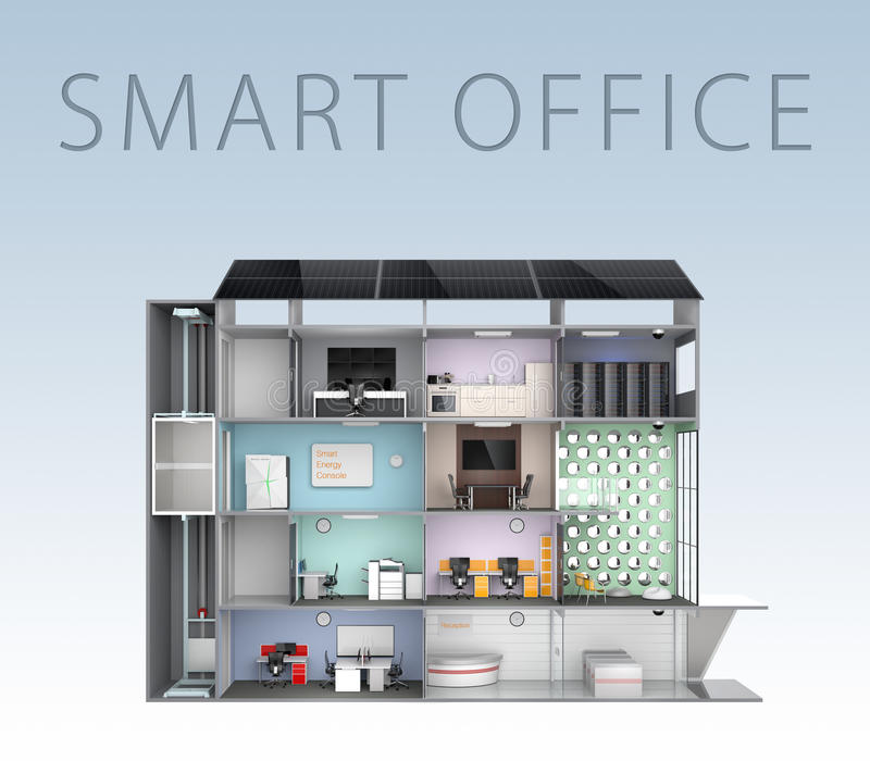 Smart Office Concept. Energy Support By Solar Panel