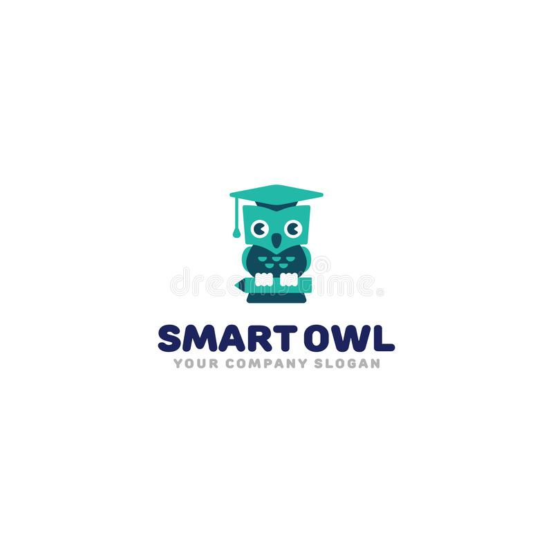 Smart owl logo. Cute cartoon owl in graduation hat. Kids study symbol vector template. vector illustration