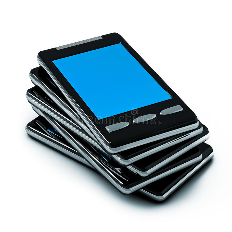 Smart-phone. 3d illustration of a pile of smart-phone isolated on white vector illustration